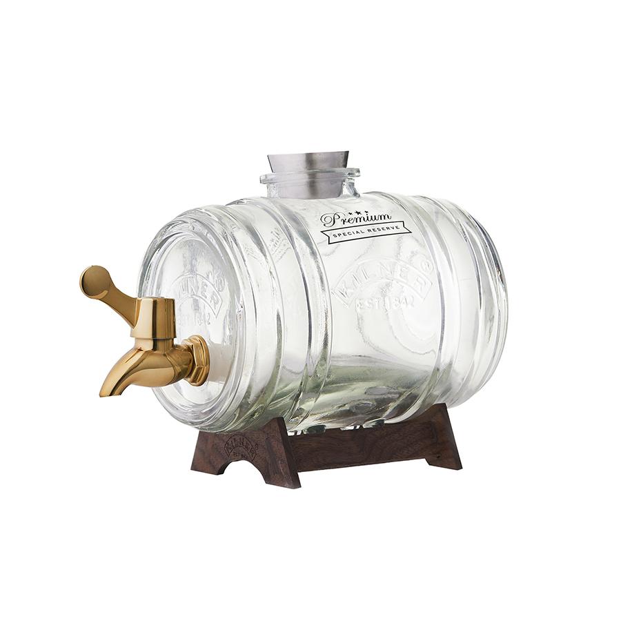 Диспенсер для напитков Barrel на подставке 1 л в подарочной упаковке золотой